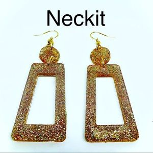 Gold Glitter Resin Dangle Earrings